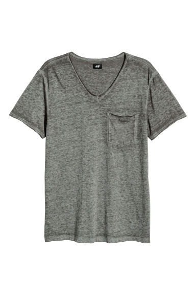 Raw-edge T-shirt - Khaki marl -  | H&M IE